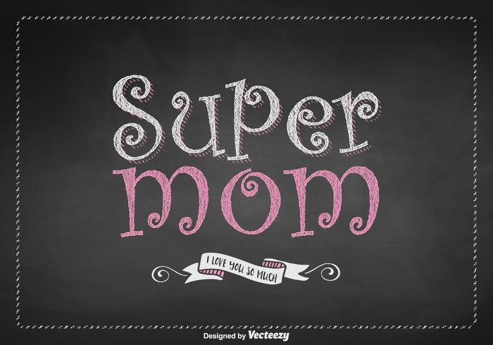 Free Super Mom Lettering Vector Design