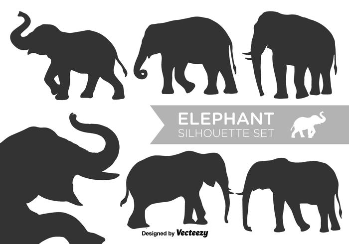 Vector Elephant Silhouettes Vector Set