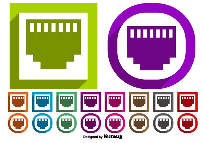 Vektor uppsättning av Ethernet port symbol knappar