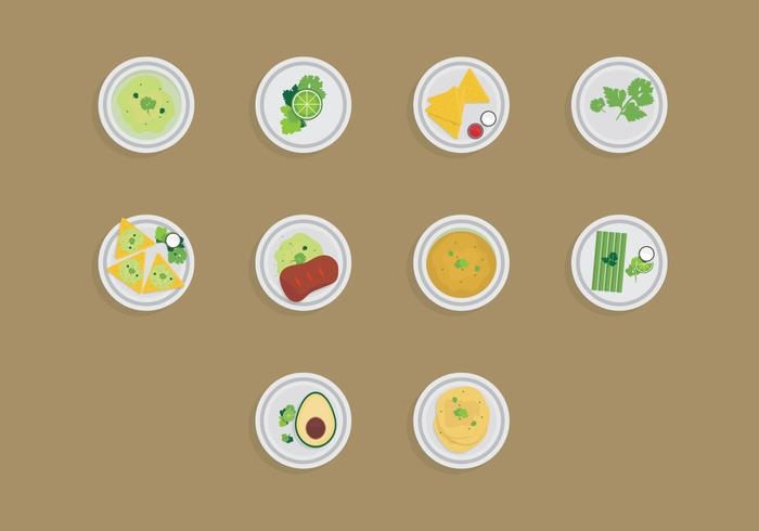 Food with Cilantro Icon Set