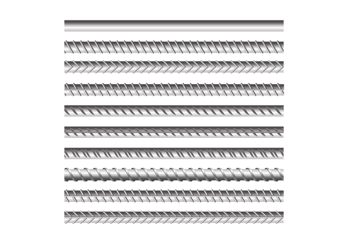 Metal Rebars Set on Transparent Background