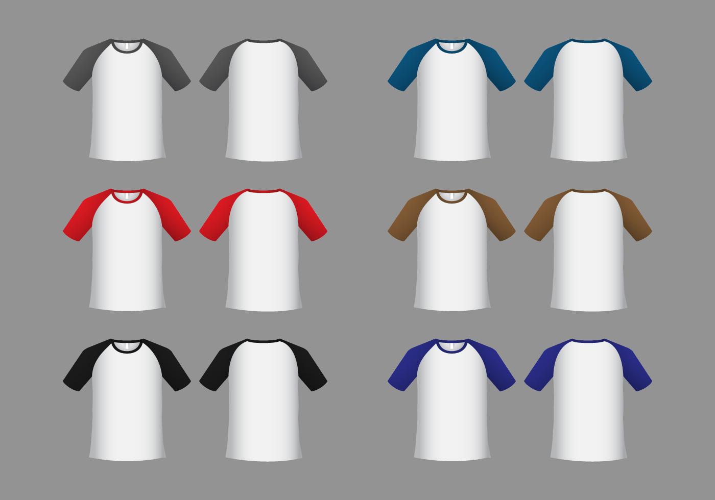 raglan short sleeve t-shirt template vector