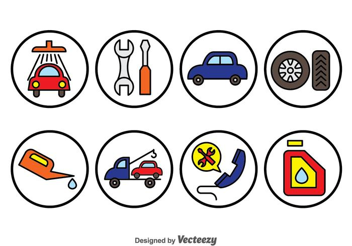 Auto Repair Cirkel Pictogrammen vector
