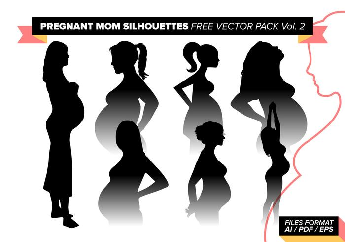 Schwangere Mom Silhouetten Free Vector Pack Vol. 2