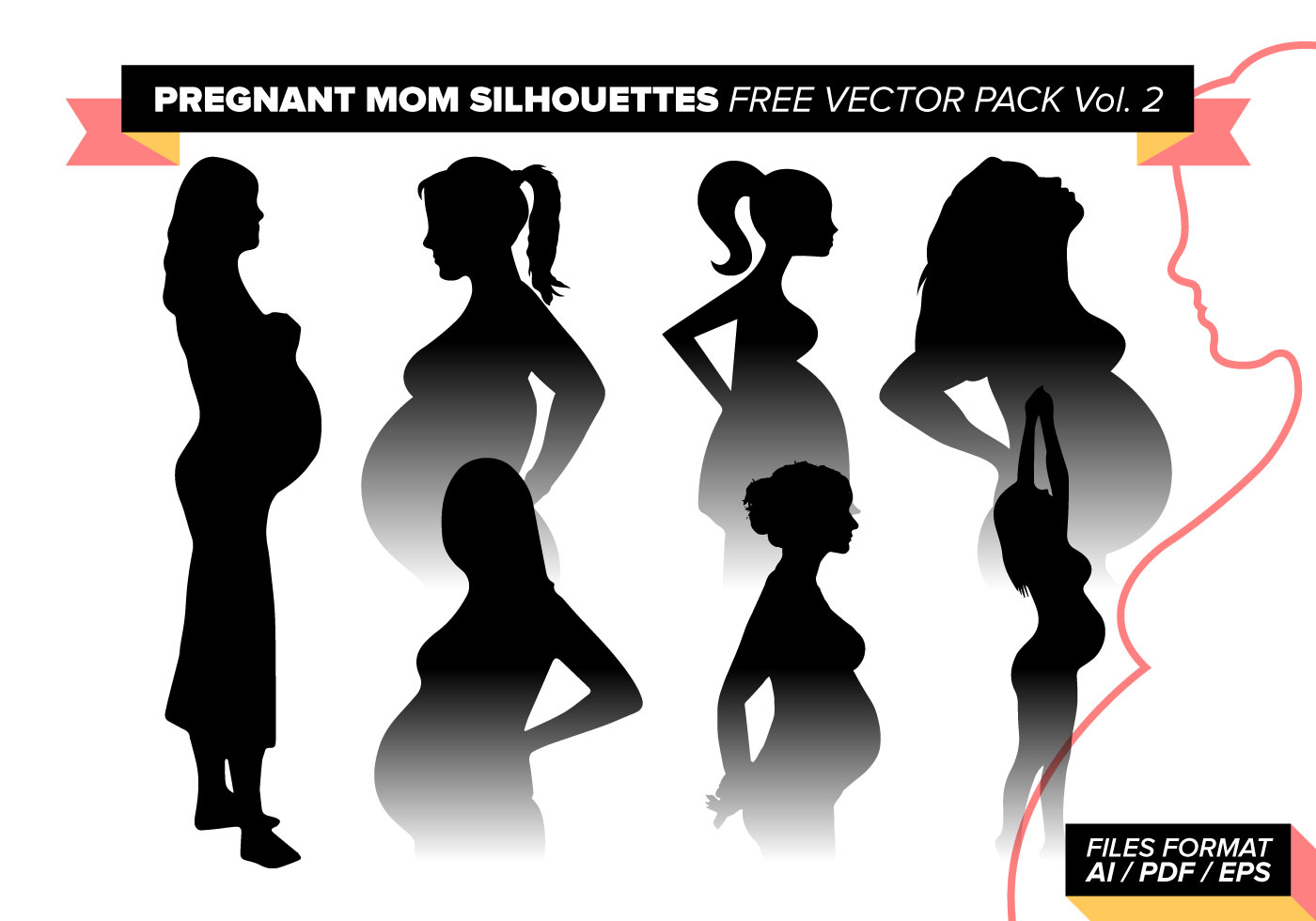 Pregnancy Svg Mommy Svg Baby Svg Pregnant Svg Mommy To Be: Pregnant Mom Silhouettes Free Vector Pack Vol. 2