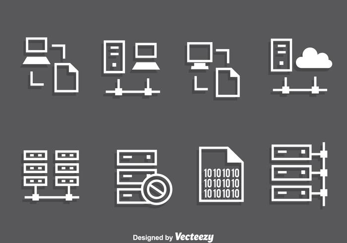 Server Rack White Icons Vector