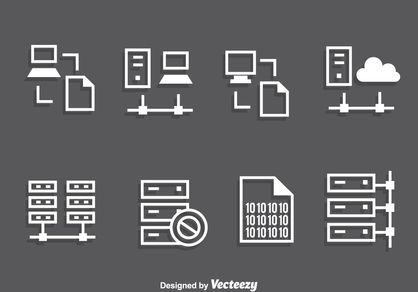 Server Rack White Icons Vector
