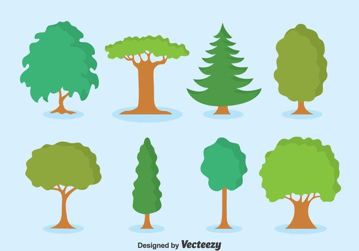 Vetor de conjunto de coleção de árvores verdes