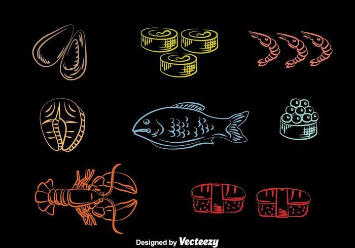 Vector de ícones de linha de frutos do mar