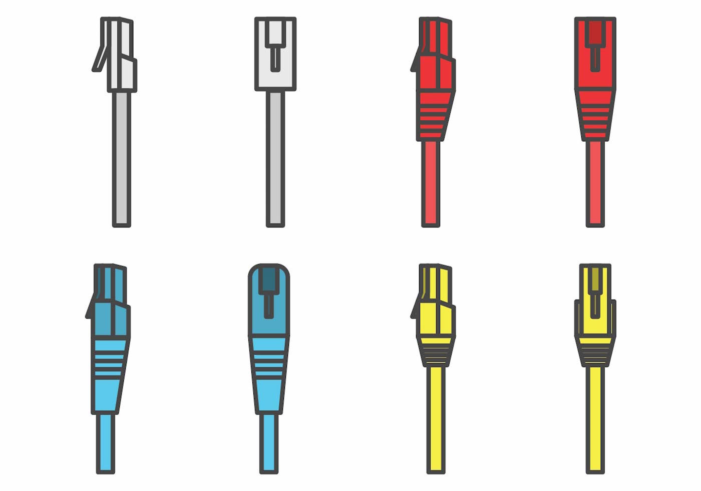Flat Rj45 Connector Set Download Free Vector Art Stock