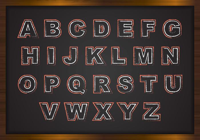 Alphabets de craie gratuits sur vecteur de carte noire