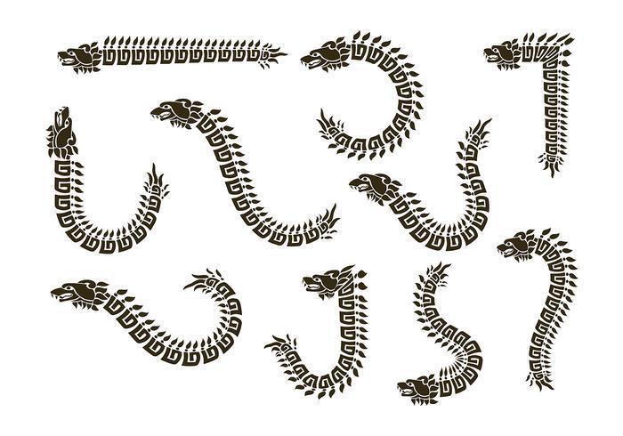Quetzalcoatl silueta de vectores