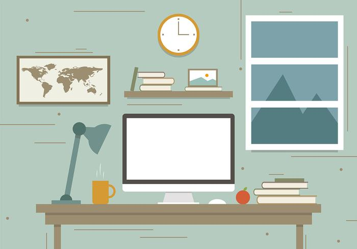 Free Traveler's Workstation Vector Illustration