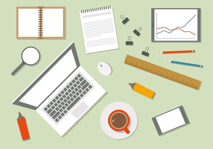 Free Flat Workspace Vector Illustration