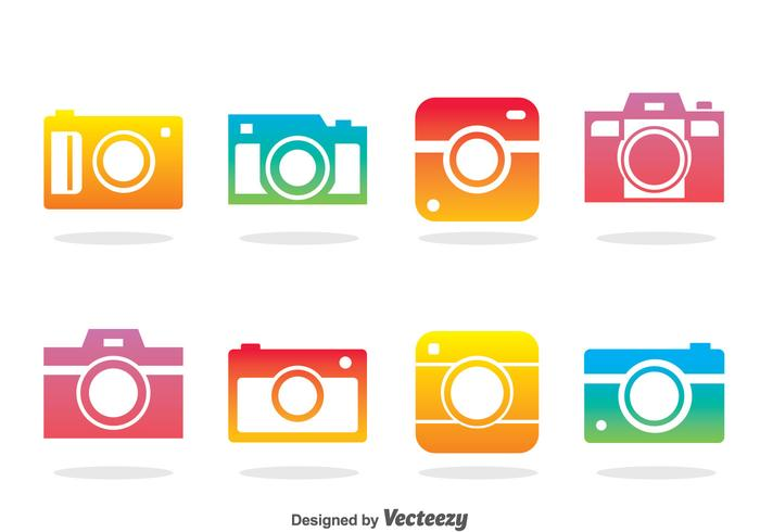 Camera Colorful Icons Vector