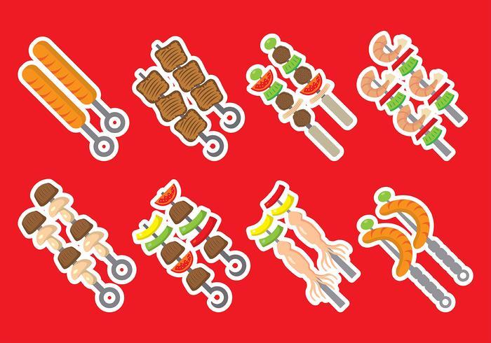 Ícones do vetor kebab brochette