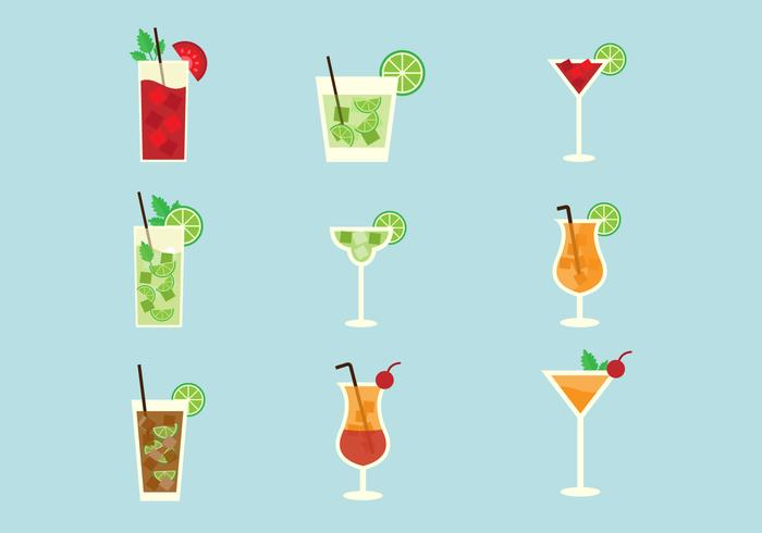 Free Popular Alcohol Cocktails Vector