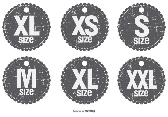 Grunge Style Size Badges
