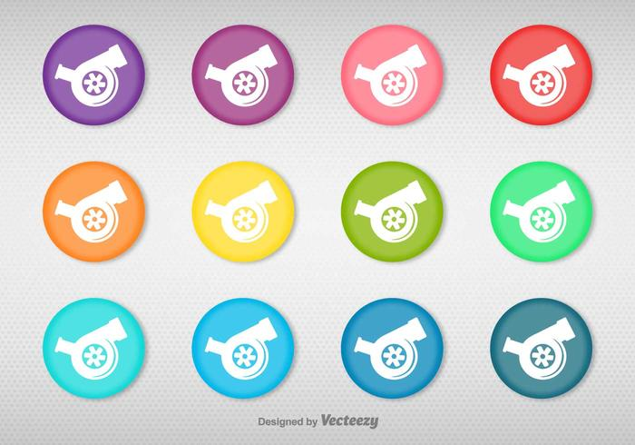 Vector Conjunto De Botones De Color Con Turbocharger Icono
