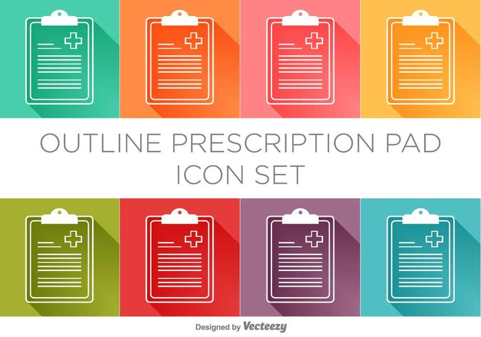 Conjunto de iconos de Vector Prescription Pad