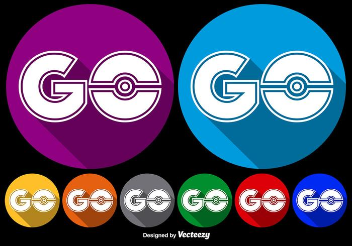 Vector Flat Go Symbol Icons For Pokemon Game