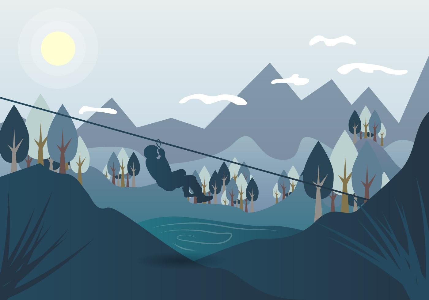 Zip Line Harness >> Zipline Landscape Vector Illustration - Download Free Vector Art, Stock Graphics & Images