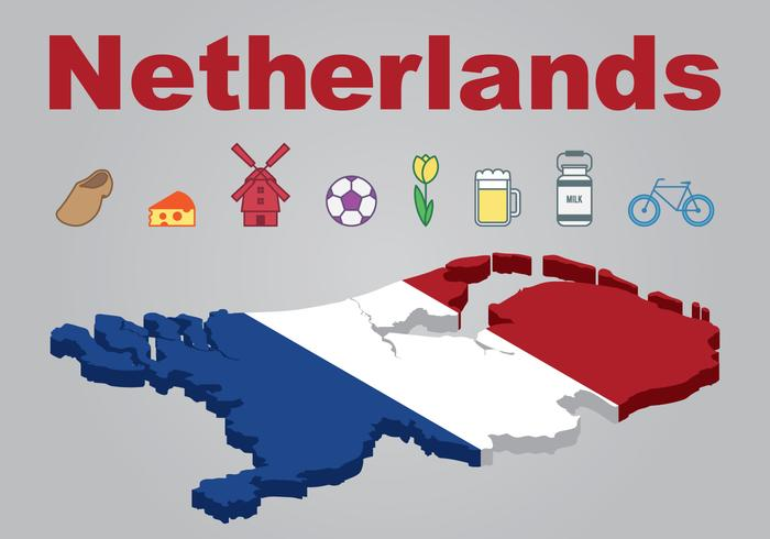 Netherlands Map and Icons Set Vector