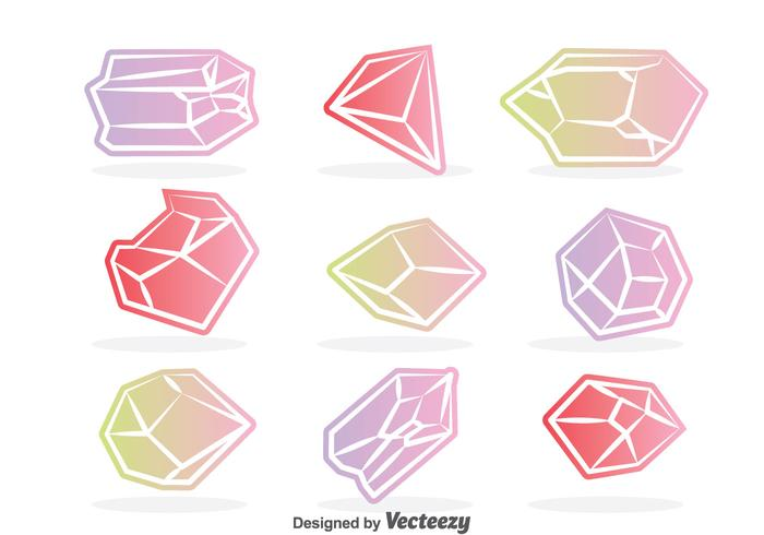 Colorful Crystal Vector Set