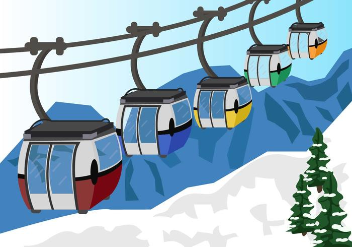 Cable Car In Snow Mountain Vector