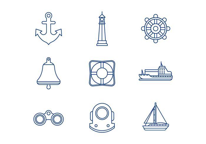 Free Nautical Line Icons