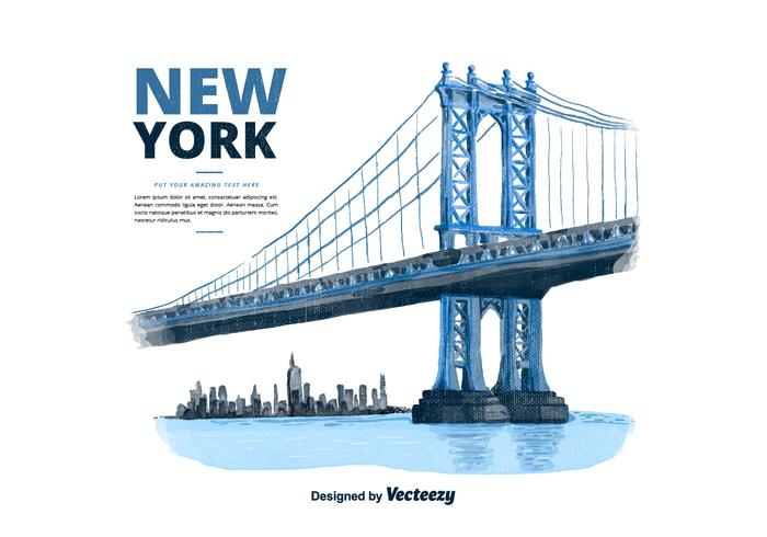 Nova York Manhattan Bridge Watercolor Vector