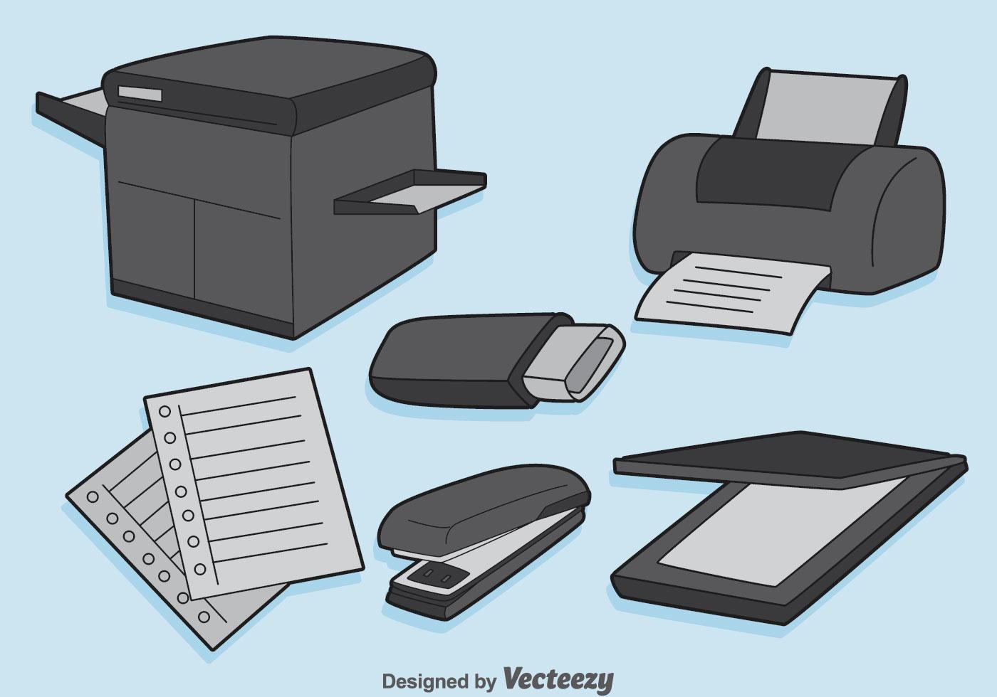 Office equipment vector set download free vector art for Equipo de oficina
