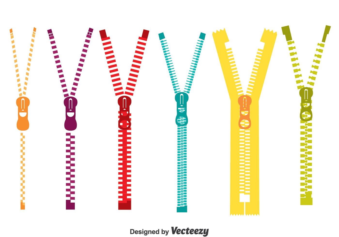 Zipper Line Art : Colorful zipper pull vector set download free art