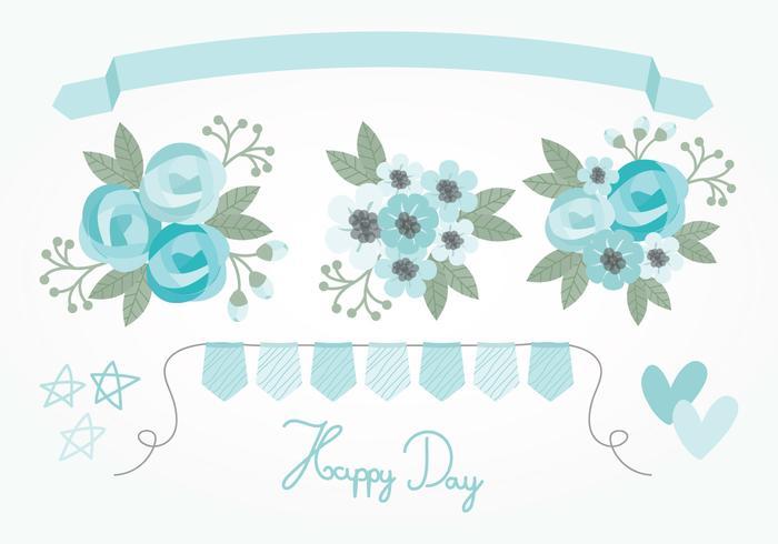 Elementos florais do vetor azul