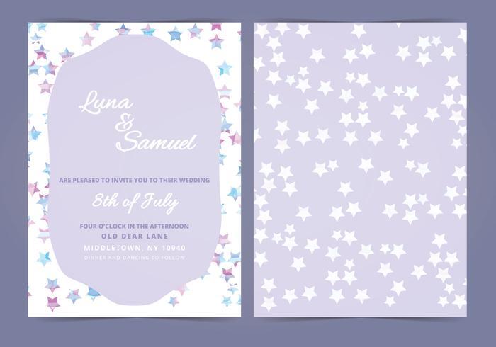 Vector Star Filled Wedding Invite