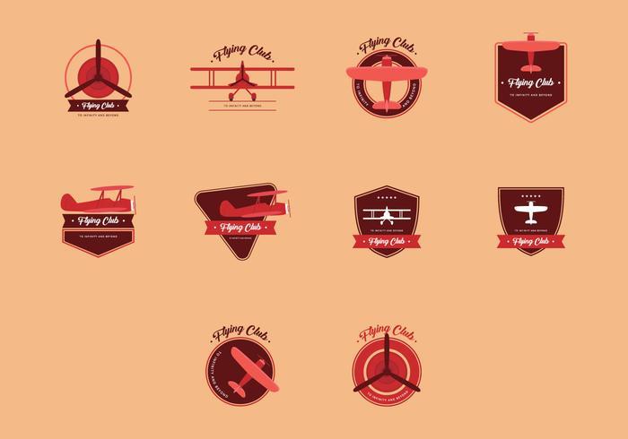 Conjunto do logotipo do vintage do biplano