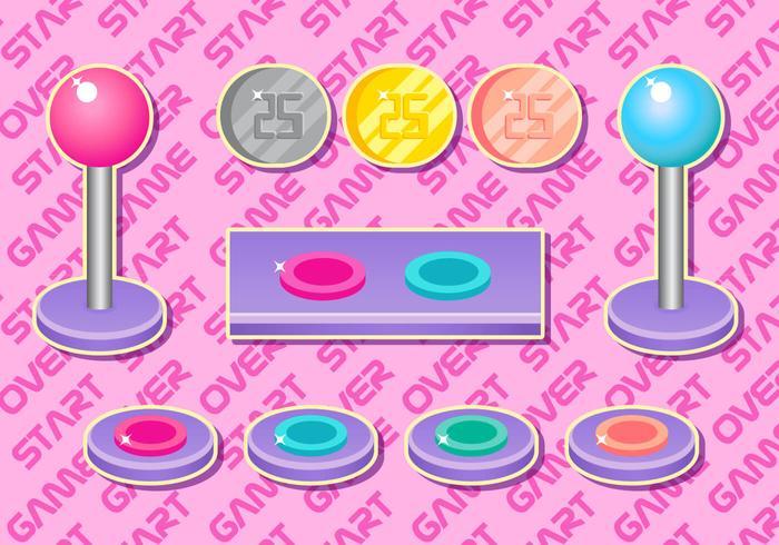 Arcade Button Girly Vector Set