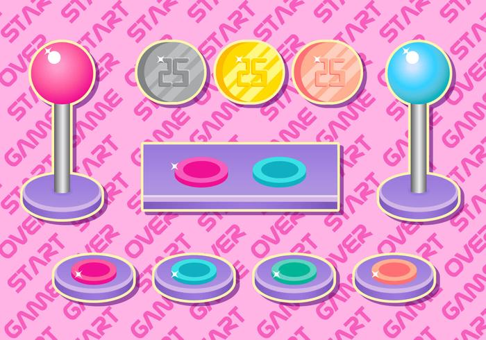 Conjunto de vetores femininos de arcade button