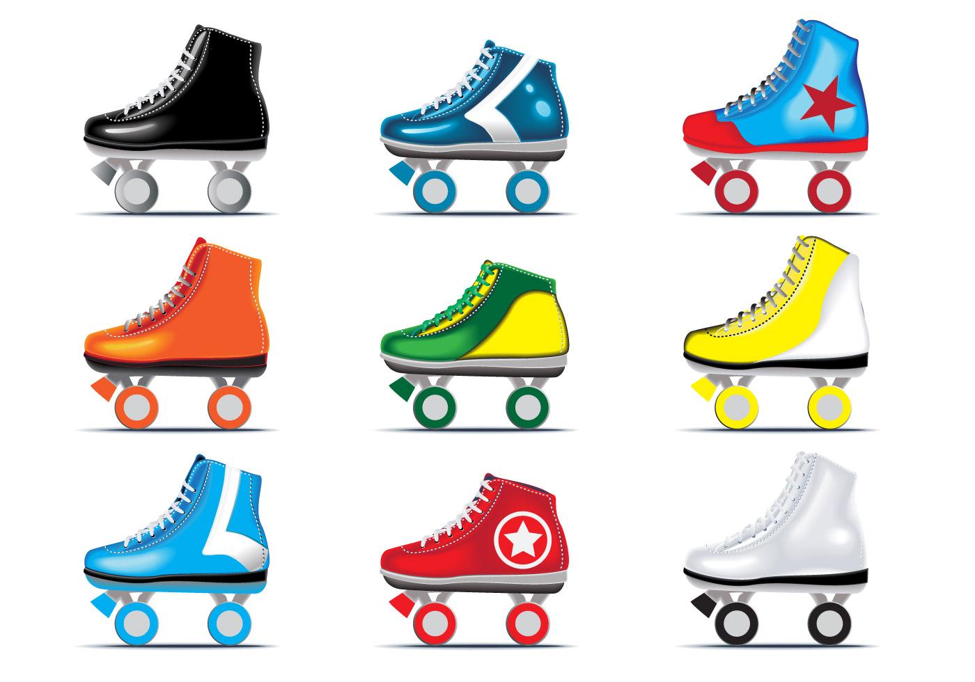 Roller Skate Sneakers >> Vector set of Roller Derby - Download Free Vector Art ...