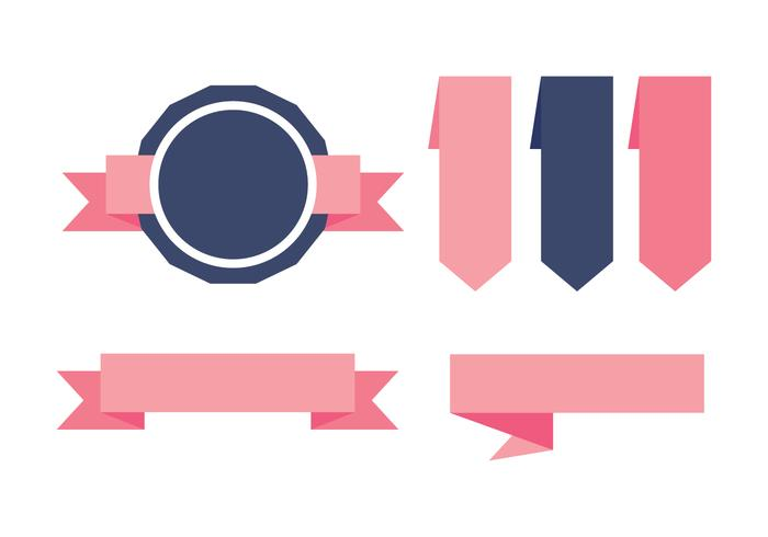 Blue and Pink Sash Etiquetas Vectors