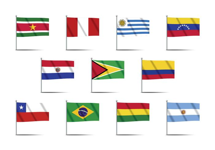 Ámérica do Sul Country Flag Vectors