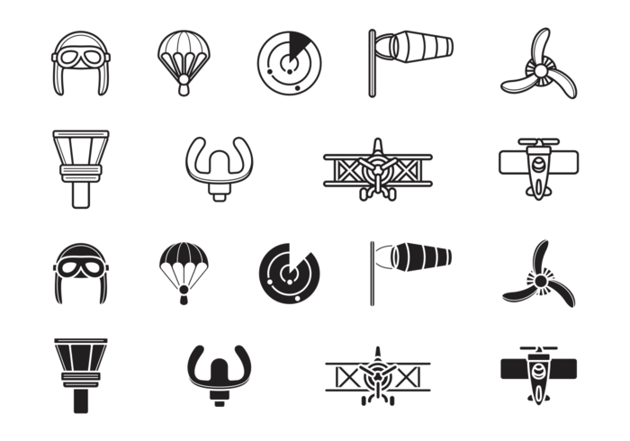 Biplane Aviation Icons