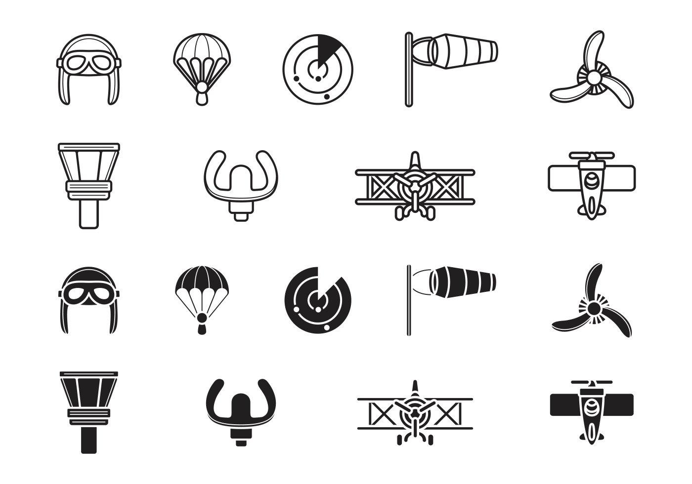 Biplane Aviation Icons Download Free Vector Art Stock