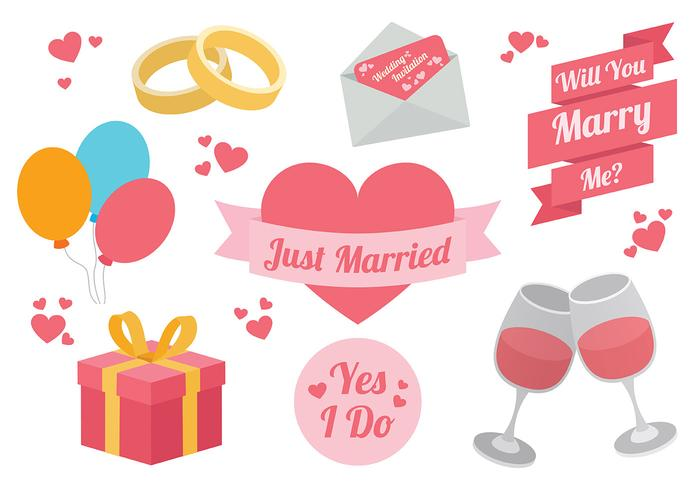 Livre Marry Me Icons Vector