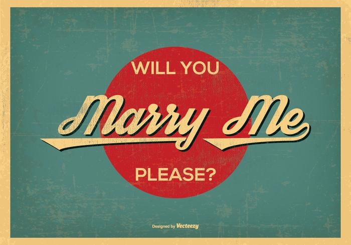 Vintage Retro Style Marry Me Illustration