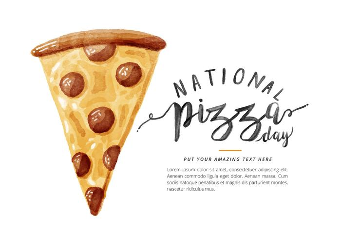 Free National Pizza Day Watercolor Vector