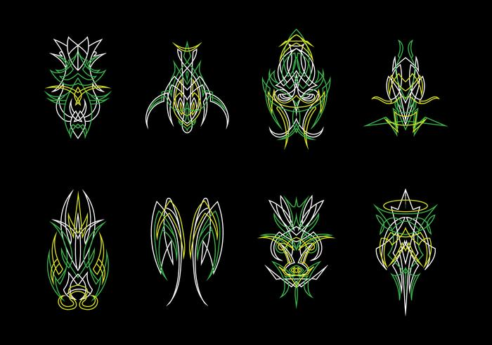 Green Ornamental Pinstripes Vector