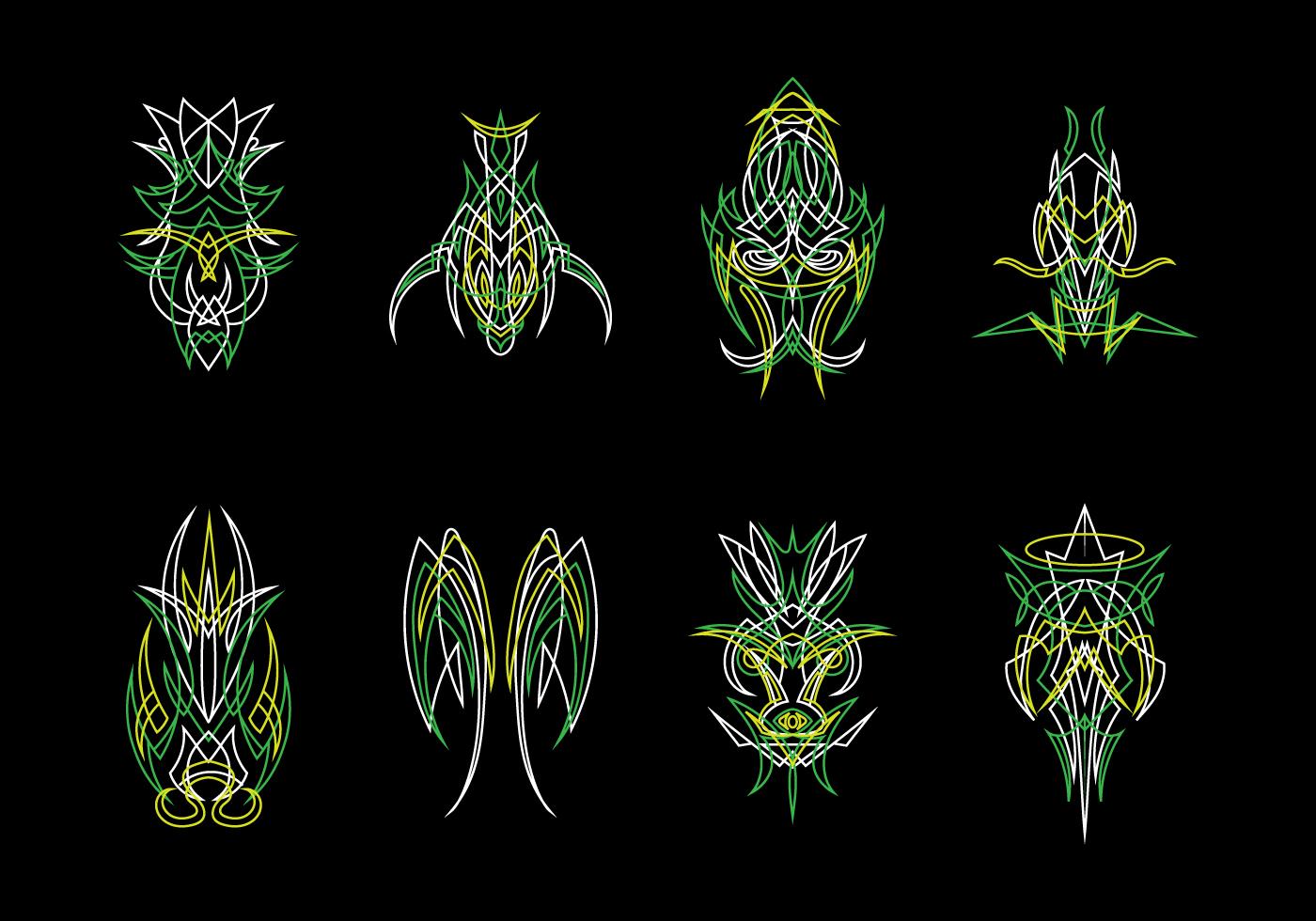 Green Ornamental Pinstripes Vector Download Free Vector