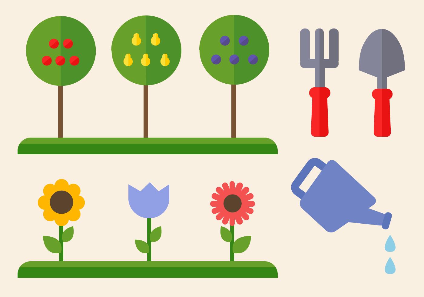 Vector de elementos de jardinería gratis - Descargue Gráficos y ...