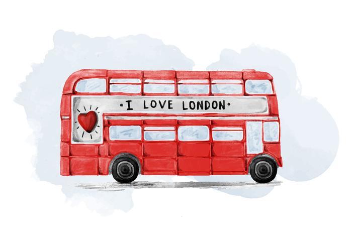 Gratis London Bus Waterverf Vector